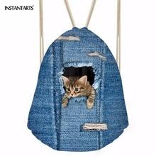 INSTANTARTS Hot Sale 3D Blue Denim Animal Cat Dog Print Women Men Small Drawstring Bags String Cinch Sack Backpack Child Satchel