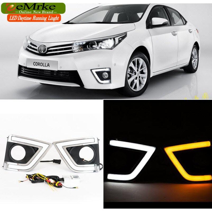 eeMrke LED Daytime Running Lights For Toyota Corolla E170 Yellow Turn Signal White DRL Light Fog Lamp Cover Kits