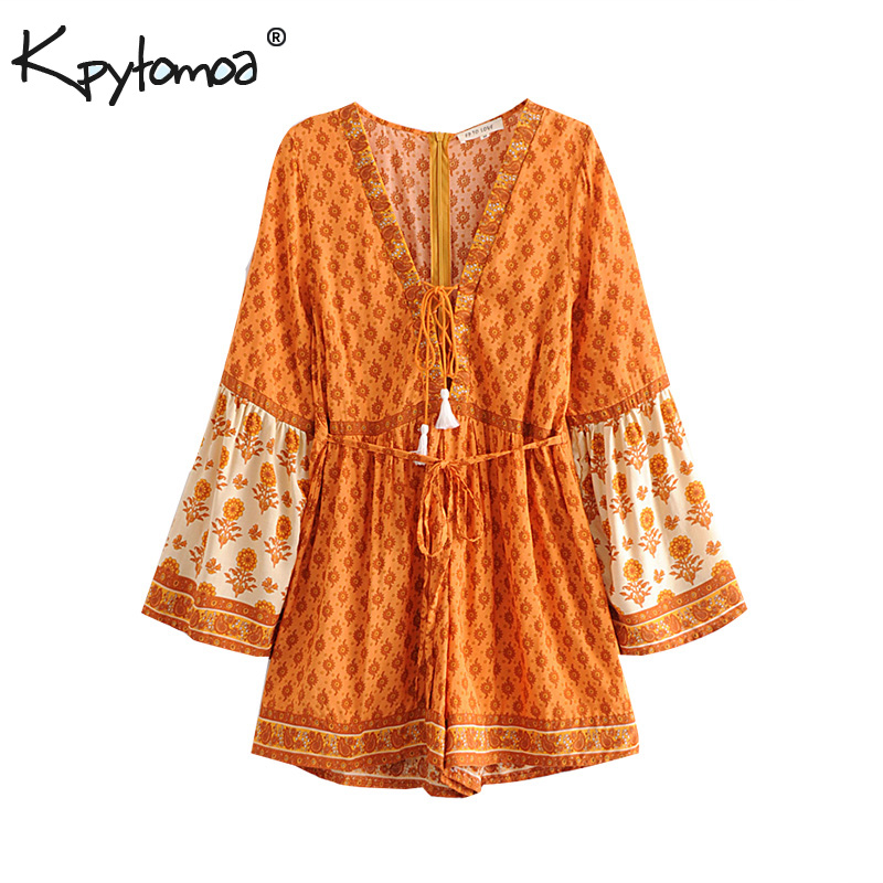 Boho Chic Summer Vintage Floral Print Sashes Playsuits Women 2019 Fashion Long Sleeve V Neck Tassel Beach   Jumpsuits   Body Tops