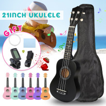 21 zoll 15 Bünde Sopran Ukulele Uke Hawaii Bass Gitarre Musical Instrument Ukelele Set Kits + Tuner + String + strap + Tasche(China)