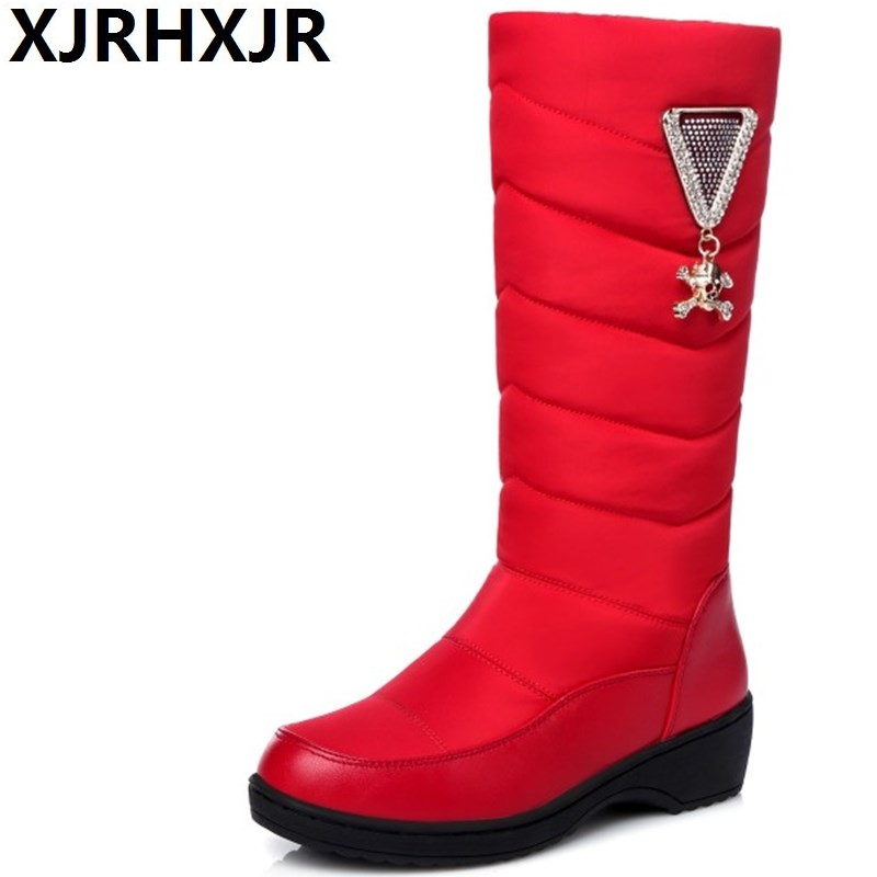 XJRHXJR Women's Winter Snow Boots For Cold Winter Female Thick Fur Inside Thick Platform Mid Calf Warm Winter Botas Size 35-40