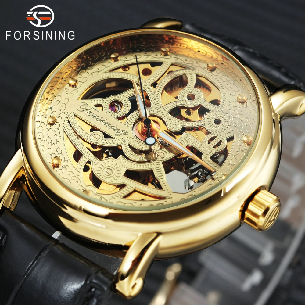 FORSINING 2018 Mens Women Watches Top Brand Luxury Auto Mechanical Watch Golden Skeleton Dial Leather Strap Couple Wristwatch