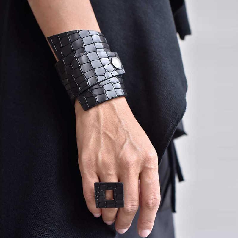 Yd & ydbz novo anel de couro para as mulheres 2019 moda designer estilo punk jóias anéis artesanal de couro artificial por atacado