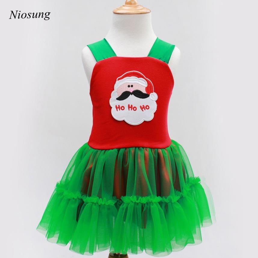 50c1630a1 Niosung Baby Girl Christmas Santa Claus Pattern Vest tutu Dress little  girls dresses toddler girl clothing For Christmas Gift v