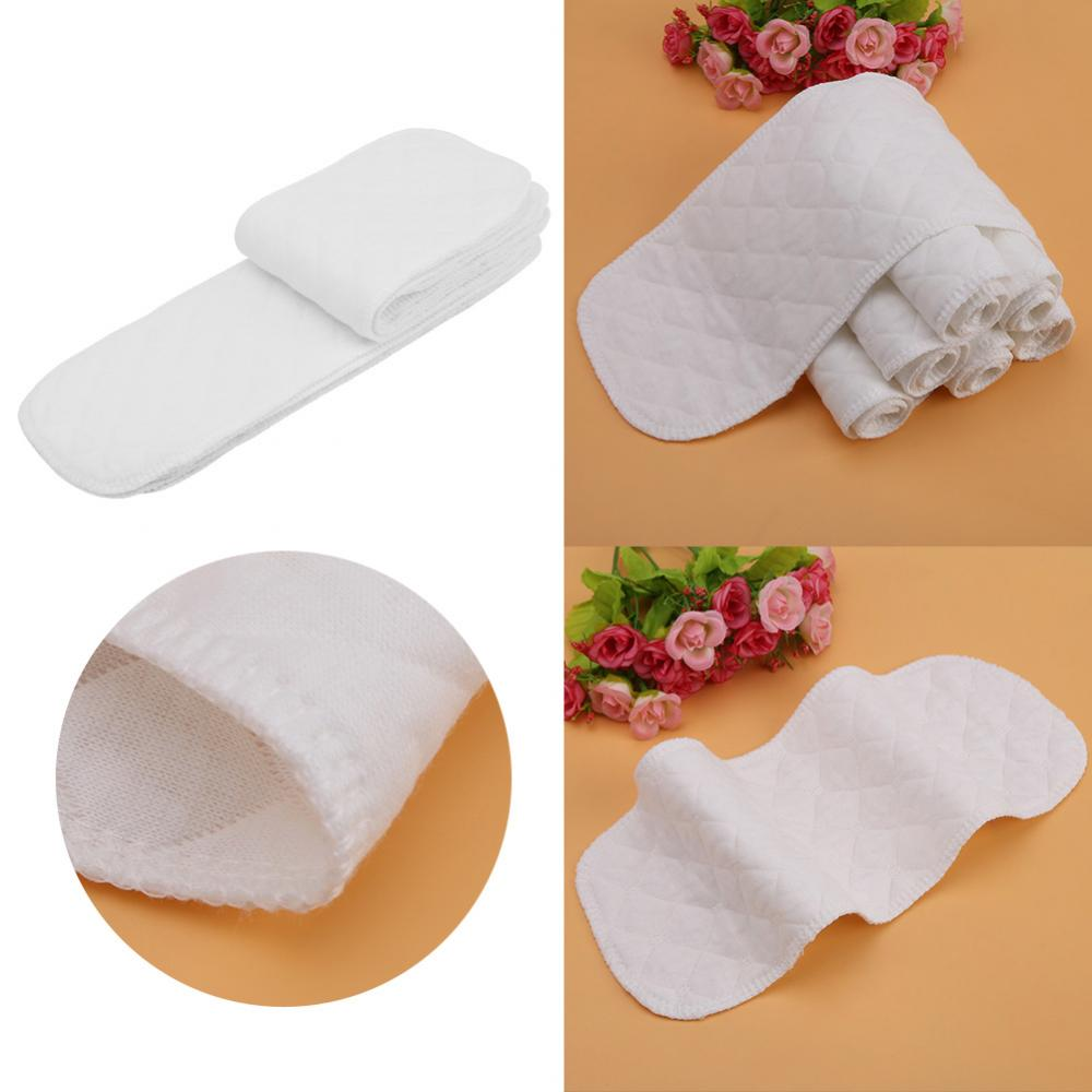 10Pcs Baby Diaper Insert Nappy 3 Layer Liner Breathable Absorbent Cotton Cloth