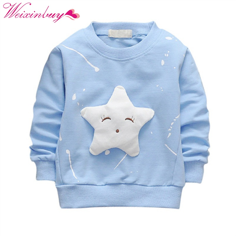 Baby Girls Clothes Fashion Long Sleeve O-Neck T-shirt Spring Autumn Winter lovely Printed Five-Star Character baby kids clothes stylish women s long sleeves character printed zipped hoodie