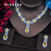 HIBRIDE Charm Yellow AAA Cubic Zirconia Jewelry Sets For Women Bridal Wedding Sets  Earring Necklace Set Gift Wholesale N-392