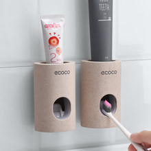 Automatic Toothpaste Dispenser Dust-proof Toothbrush Holder Wall Mount Stand Bathroom Accessories Set Toothpaste Squeezers Tooth(China)