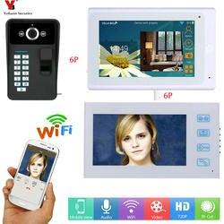 YobangSecurity белый 7 дюймов Дисплей Беспроводной Видео Домофонные дверной звонок Камера домофон Системы с отпечатков пальцев радио Passward