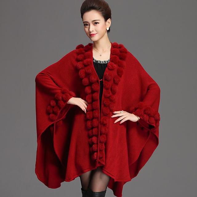 fc6d1985a36dfe € 21.28 15% de réduction|Automne et hiver lâche grande taille femmes cape  châle manteau fourrure irrégulière laine tricot manteau veste ...