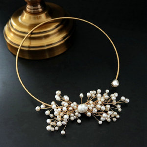 Image 2 - SINZRY original design handmade natural freshwater pearl snowflake chokers necklace band for Women dress bridal jewelry Gift