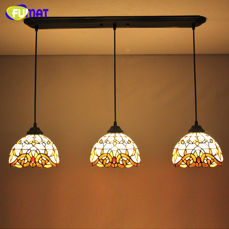 FUMAT Stained Glass Pendant Lights Baroque 3 Lights For Dining Room Kitchen Hotel Suspension Light hanglamp LED Pendant Lamps fumat stained glass lamp european vintage glass pendant light for living room baroque led lights artistic glass pendant light