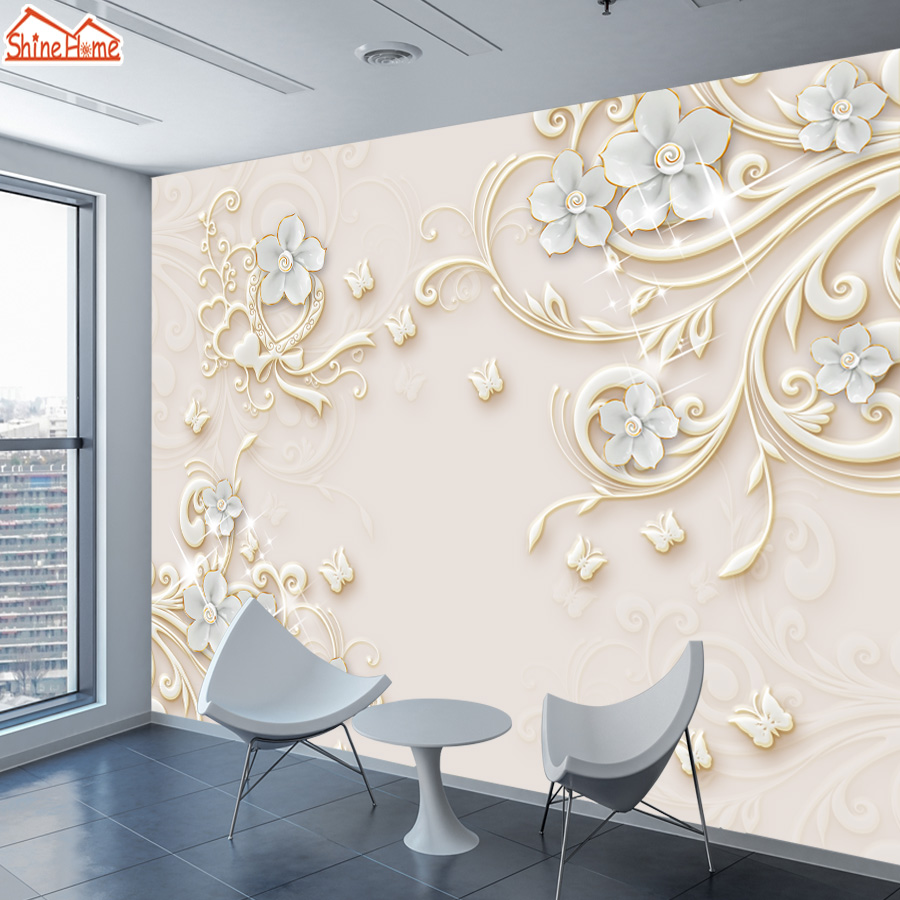 ShineHome-Large Customized 3d Mural Flower Embossed Wallpaper Wall Murals Rolls Paper Non Woven Wallpapers for 3 d Living Room shinehome graffiti embossed brick wallpaper roll for walls 3d cafe mural wallpapers for 3 d wall living room mural wall paper