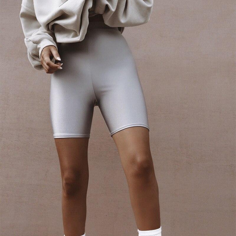 BKLD Streetwear Harajuku Reflective Biker   Shorts   Silver Black High Waisted Bodycon Running   Shorts   Women Summer Clothes for Women