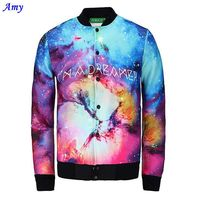 Amy Hot Model Starry Sky Jacket Men Casual 3D Print Jacket Single Button Space Cotton