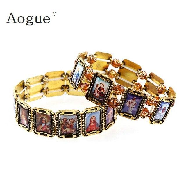 Elasticated Alloy Small Square Catholic Saints Bracelet Random Images