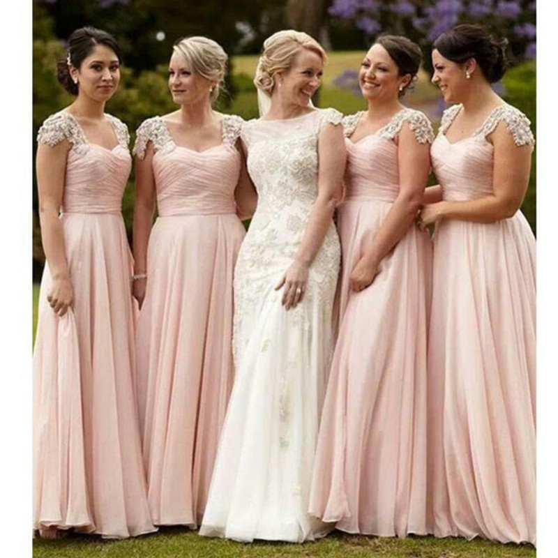 5f8ae65a2438 Long Chiffon Blush Pink Bridesmaid Dresses Elegant A Line Sweetheart  Shortsleeve Beaded Appliques Women Party Gowns