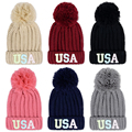 2016 women fashion autumn winter caps woolen knitted Fur thickening warm hats ladys glow Letter Skullies&Beanies couples caps
