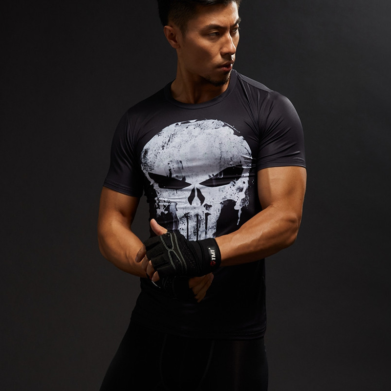T     Shirt   Men Short Sleeve 3D   T  -  Shirt   Male Crossfit Tee Captain America Superman tshirt Men Fitness Compression   Shirt   Punisher MMA