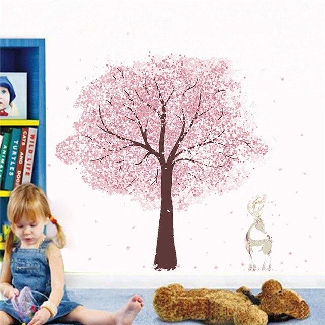 & Romantische Roze Bloem Boom Herten Muurstickers Kids Kamers Home Decor Cartoon Muurstickers Diy Poster Pvc Muurschilderingen Muurschildering Sticker