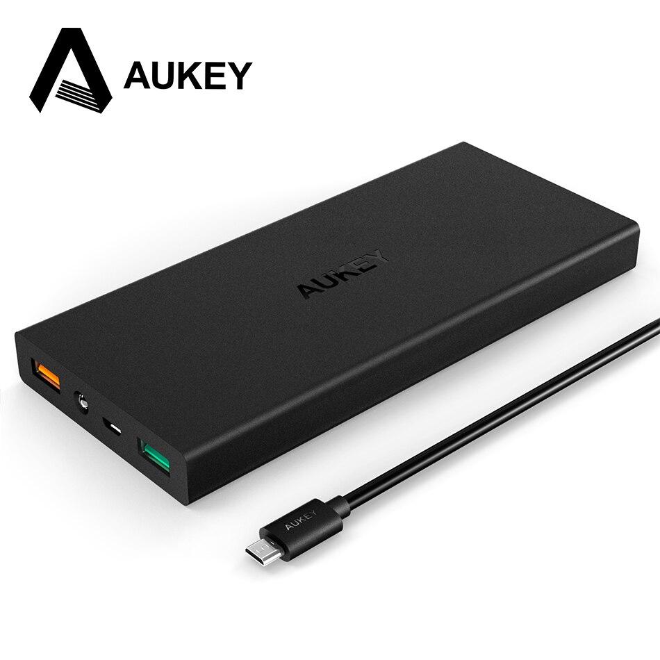 Aukey carga rápida 3.0 16000 mah banco de potencia de doble puerto con aipower a