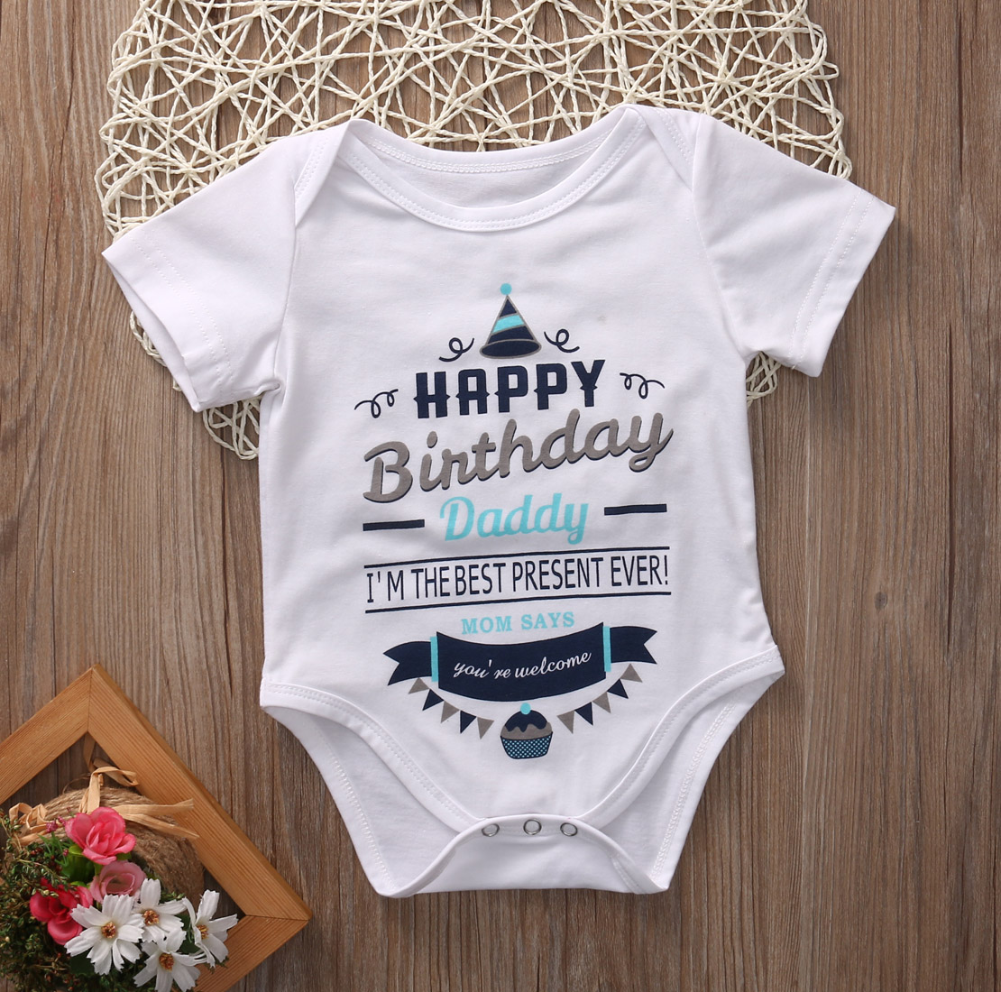 Birthday Infant  Baby Boy Girl Cotton Bodysuit Short Sleeve Outfits Birthday Clothes