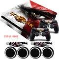 GOD OF WAR HD Vinilo PS4 Controlador 2x Pegatina de Protección Delgada pieles calcomanía + barra de luz led de la piel para sony playstation4 consola slim