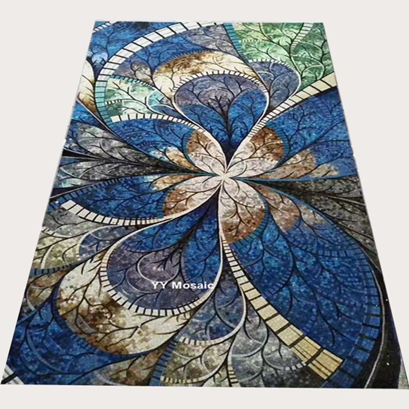 Roses Mosaic Tiles Bathroom Art Wall Flower Tile Blue And White Floral 11PCS