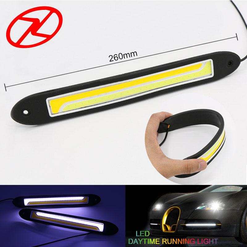 Автомобиль стиль 2шт дневного света включить свет гибкая дневного света супер яркий водонепроницаемый cob светодиодные DRL лампы 12 В