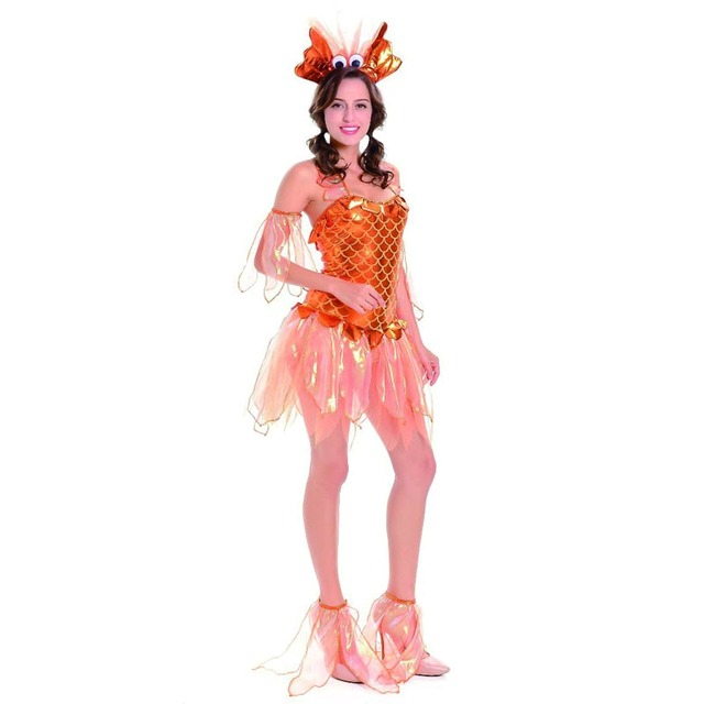 New Sexy Mermaid Princess Anime Cosplay Costume Golden Fish Fancy