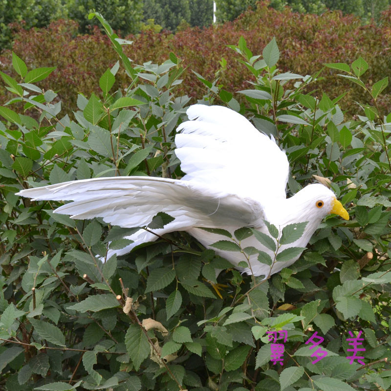 ФОТО cute flying simulation dove toy lifelike white pigeons doll gift about 50x30cm
