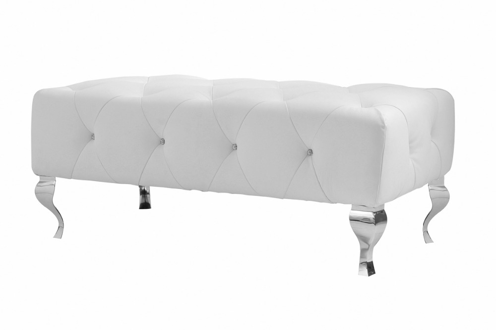 unique designer post modern style top graded cow real leather ottoman/stool livingroom with crystal buttons stainless steel legs unique post modern style top graded cow real leather ottoman stool living room home furniture round shape crystal buttons