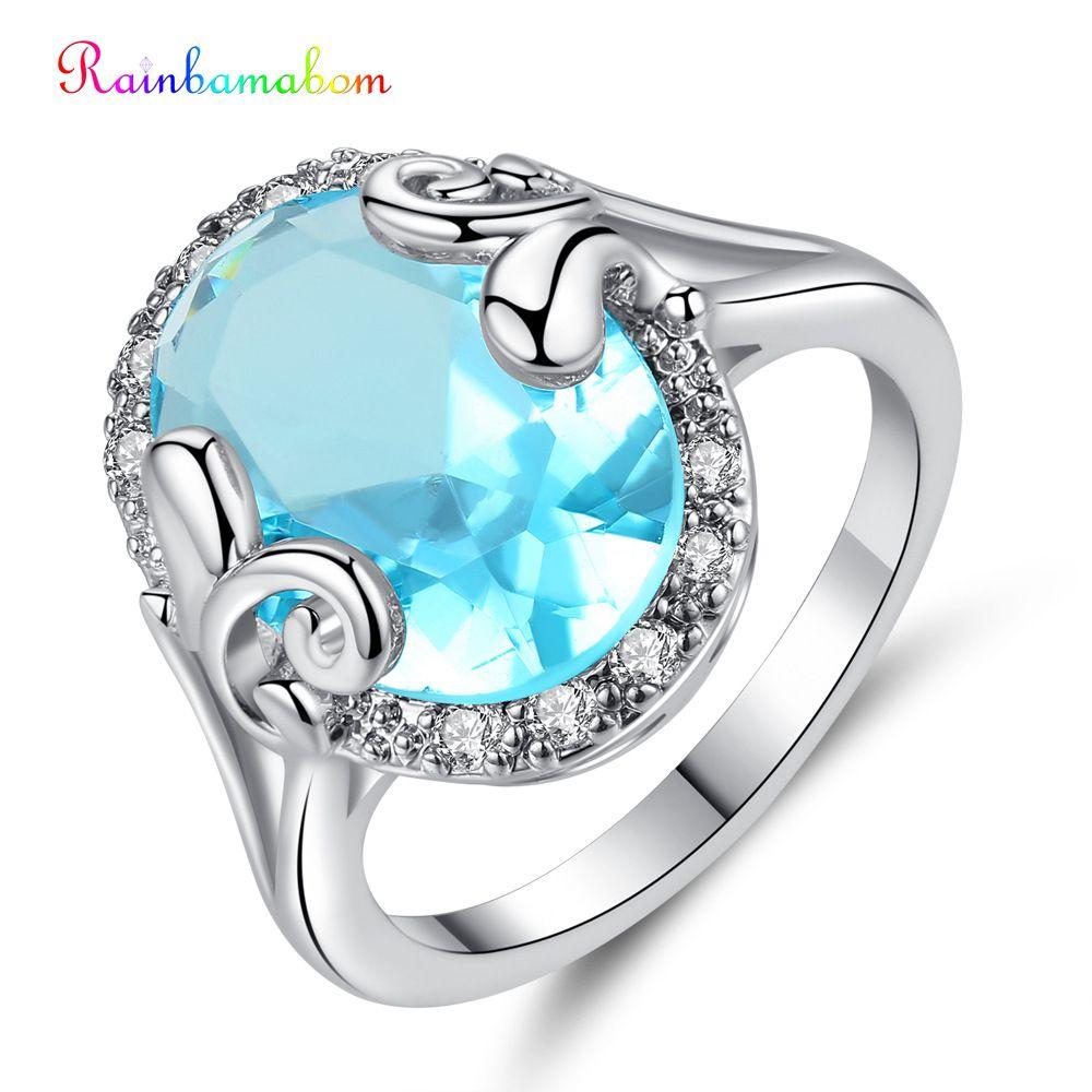 Rainbamabom 925 Solid Sterling Silver Aquamarine Gemstone Wedding Engagement Party Ring Fine Jewelry Wholesale Drop Shipping