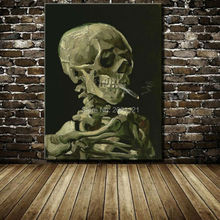 Smoking Skull with Cigars! Hand Painted ideas Painting unique canvas art wall pictures Modern Abstract painting home decor