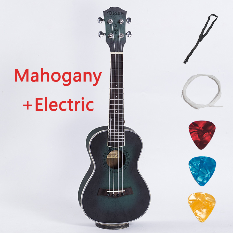 Acoustic Electric Concert Ukulele 23 Inch Hawaiian Mini Guitar 4 Strings Ukelele Guitarra Mahogany Handcraft Green Musical Uke