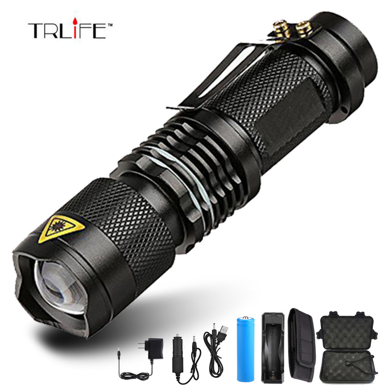 Super Brigh 8000 Lumen LED Flashlight Zoom T6 Led Lamp Bead Torch 5 Mode Camping Lamp Waterproof Use 18650 Rechargeable Battery