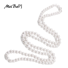 Meibapj 9 10 ミリメートルサイズの素敵なチャームリアル淡水真珠のネックレス 120 センチメートルロングセーターチェーン白ファッションジュエリーXL 069