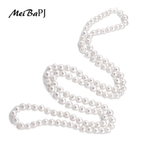 Meibapj 9 10Mm Size Nice Charm Real Freshwater Pearl Necklace For Women 120Cm Long Sweater Chain White Fashion Jewelry Xl 069