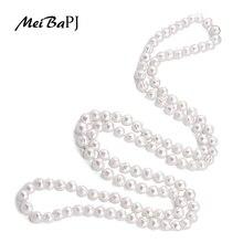 Meibapj colar de pérolas doce, tamanho agradável 9 10mm, bom charme real para mulheres, 120cm, corrente de suéter branco joias da moda XL 069,