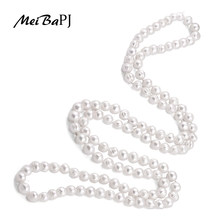 MeiBaPJ 9-10mm Size Nice Charm Real Freshwater Pearl Necklace For Women 120cm Long Sweater Chain White Fashion Jewelry XL-069(China)