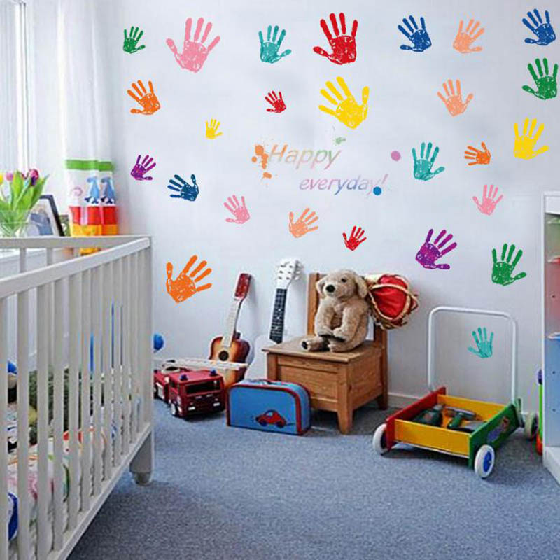 Colorful Kids Rooms: Colorful Children Handprint Stickers Bedroom Bedside
