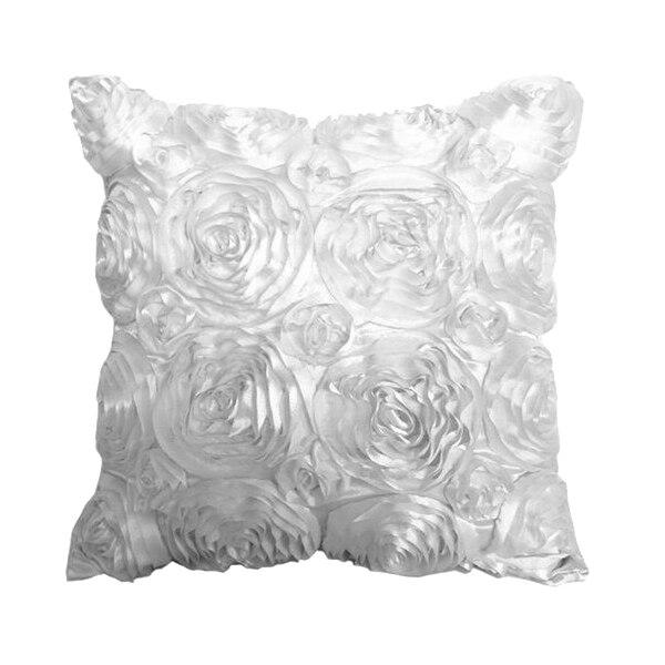 New Soft Vintage White Satin Rose Flower Square Throw Pillow Cushion