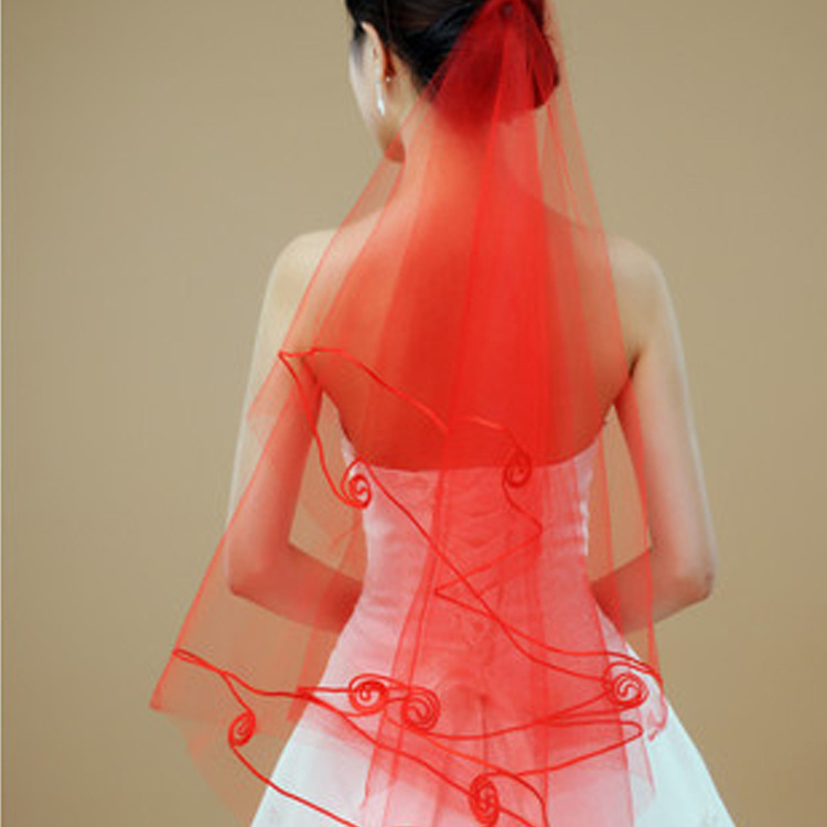 Red Wedding Bridal Veils Long Wedding Dress Hair Accessories Women's Clothing