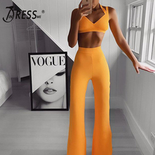 INDRESSME 2019 New Sexy Cropped Halter Top And Flare Legs Pants Strappy Bandage Two Pieces Set