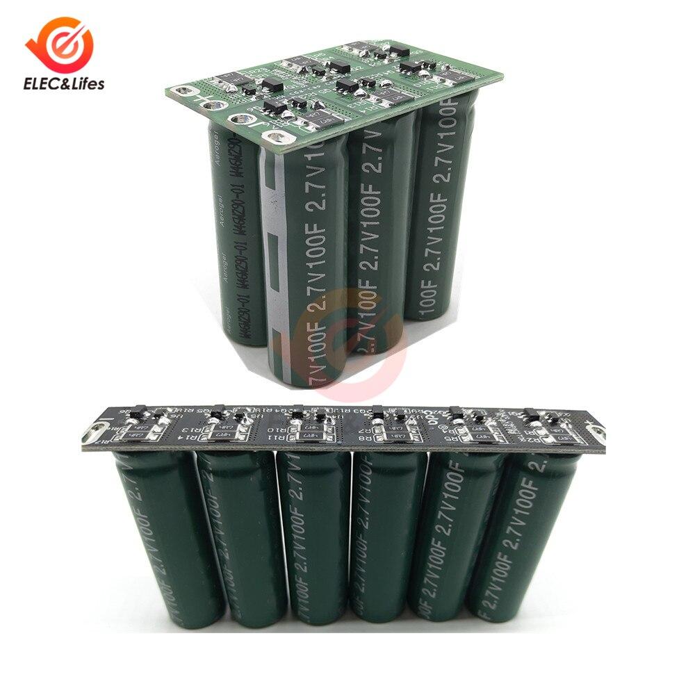 16 v 16.6f super conjunto de capacitor farad retificador automotivo 6pc 2.7 v 100f duplo/única fileira ultracapacitor com placa de proteção