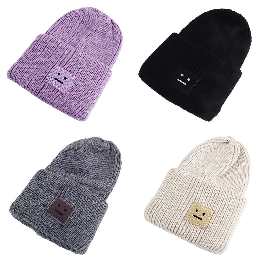 New New Arrivals Korean Style Beanies Cap Brand New Thick Female Cap Wool Cute Smile Face Lady Winter Spring Autumn Knitted Hat 2015 new brand female elegent style 100