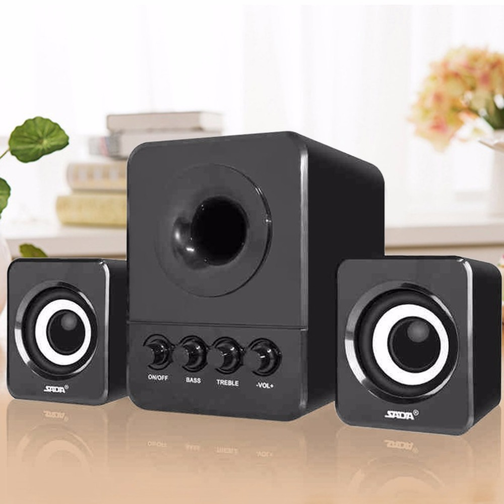 SADA USB2.1 & 3.5mm Audio Interface Stereo Subwoofer Audio Portable Speaker For Computer ...
