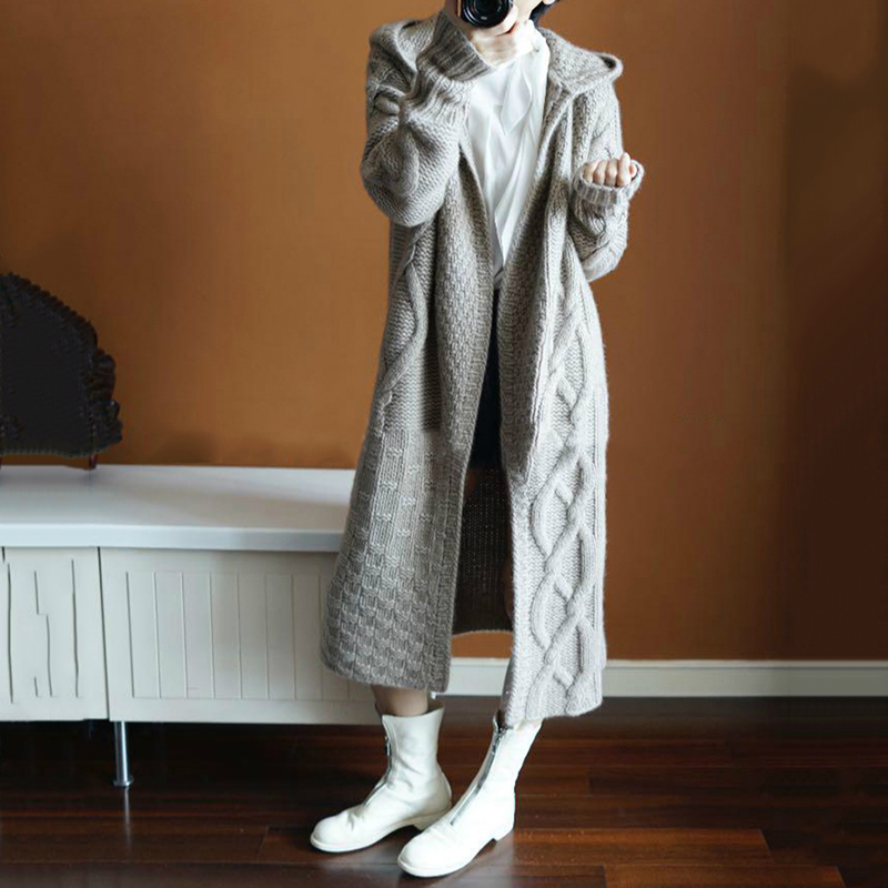 Long Cardigan Women Autumn Winter Pure Cashmere Sweater Coat Long Sleeve Thicken Warm Twist Knitted Cardigan