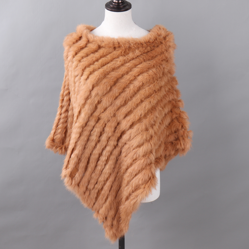 Image 3 - Autumn Winter Lady Genuine Knitted Rabbit Fur Poncho Wrap Scarves Women Natural Rabbit Fur Shawl Triangle Cape Wholesale Retail-in Women's Scarves from Apparel Accessories