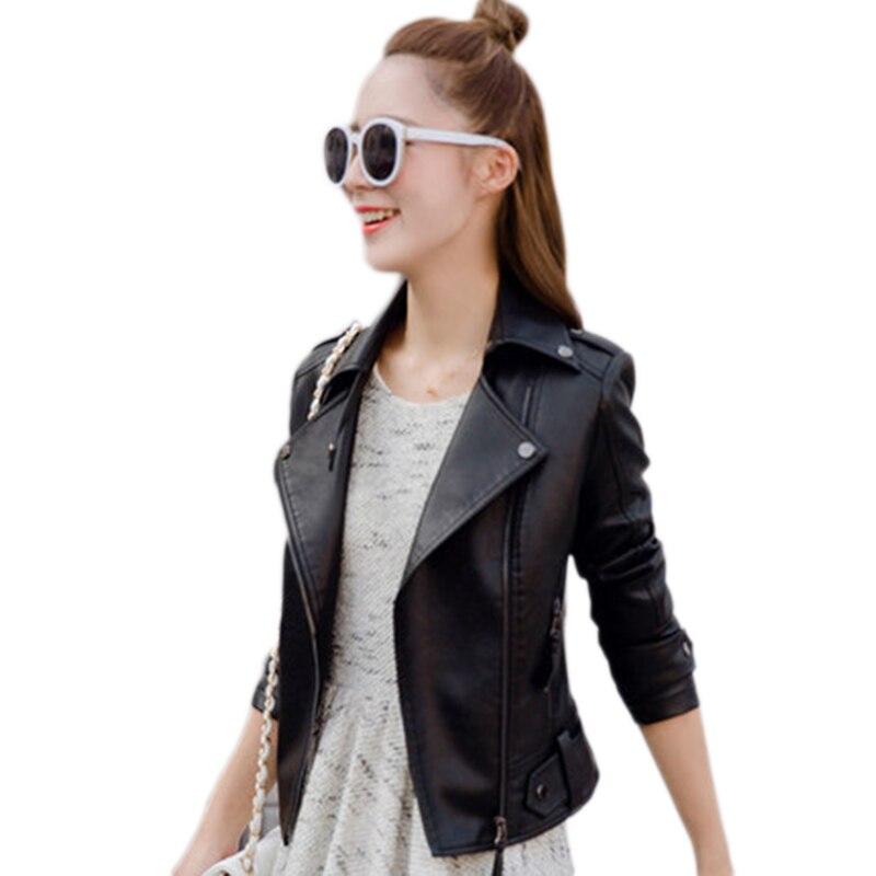 2018 Spring Summer Ms Slim Motorcycle PU Leather Female Short Leather Jacket Motorcycle Jacket Slim Women